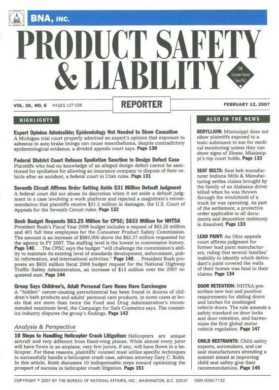 Handling Helicopter Crash Litigation: The 10 Indispensable